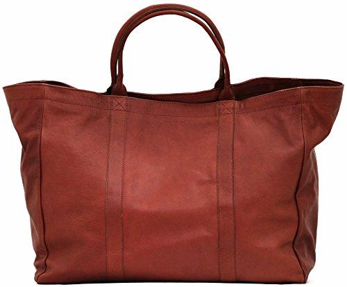 MON PARTENAIRE L Brun grand cabas cuir sac à main style vintage PAUL MARIUS