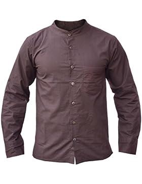 Little Kathmandu camisa de lino y algodón marrón Festival salón de verano para hombre