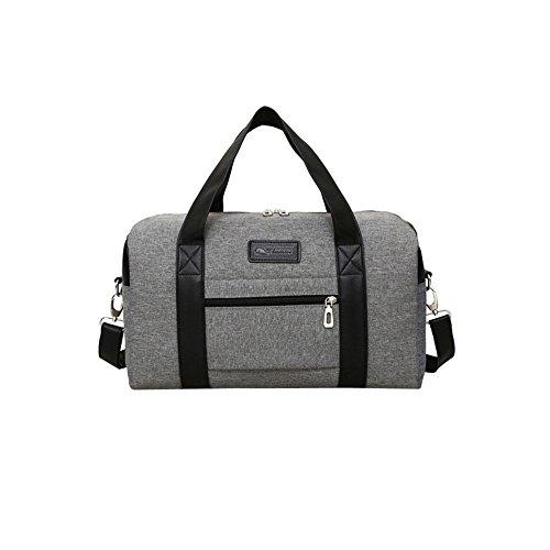 Handmade Tote Handtasche (TIFIY Herren Geschäft Ausflug Reisen Wasserdicht Segeltuch Reißverschluss Handtasche Totes (Grau))
