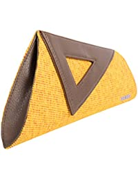 Veuza Athens Premium Jacquard And Faux Leather Sun Yellow Women's Clutch