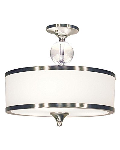Z-Lite 308SF-BN Cosmopolitan Three Light Semi Flush Mount, Metal Frame, Brushed Nickel Finish and White Shade of Glass Material by Z-Lite