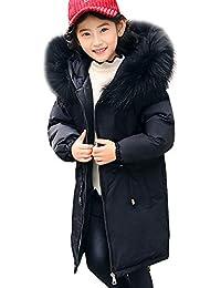 LSERVER Abrigo Suelto de Invierno Acolchado para Niñas Chaqueta Grande de Pluma Caliente con Capucha de