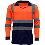 MyShoeStore Hi Viz Haute visibilité Haute visibilité Polo Bande réfléchissante de sécurité Sécurité Travail Bouton T-Shirt Respirant léger Double Bande Workwear Top S-7 X L - Orange - Small