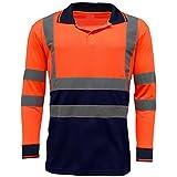 MyShoeStore Hi Viz Haute visibilité Haute visibilité Polo Bande réfléchissante de sécurité Sécurité Travail Bouton T-Shirt Respirant léger Double Bande Workwear Top S-7X L - Orange - Small