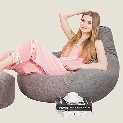 QMKJ Haut Dos Beanbag Lycra Cotonflax Bean Sac Chaise pour Enfants Adultes Facile à soulever Tapis de Jardin Lounger intérieur et extérieur 90 * 110CM,Gray,XL