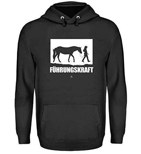 (EBENBLATT Führungskraft Pferd Mädchen Pony reiten Reiter Reitsport Hobby Interesse Kostüm Geschenk - Unisex Kapuzenpullover Hoodie -L-Jet Schwarz)