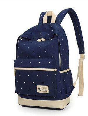 Mode Punkt-Muster-Segeltuch-Rucksack Teenager Schultasche 14,6 Zoll Laptop-Rucksack + Messenger Bag + Purse (Dunkelblau) - 4