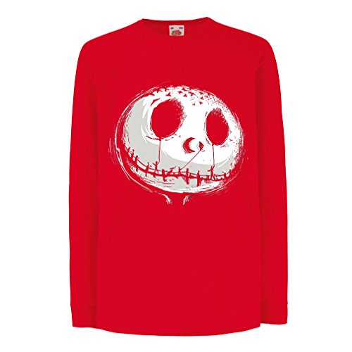 Kinder-T-Shirt mit langen Ärmeln beängstigend Schädel Gesicht - Alptraum - Halloween-Party-Kleidung (9-11 years Rot - Beängstigend Für Bilder Halloween Sehr