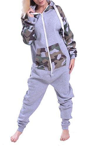 Juicy Trendz Dame Frauen Unisex One Zip Onesie Jumpsuit Playsuit Anzug CAMO XL (Mischung Camo)