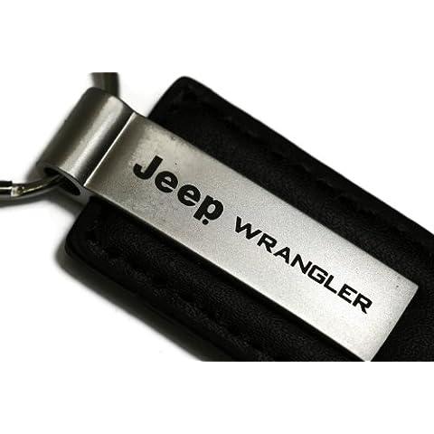 dantegts Jeep Wrangler nero portachiavi in pelle Authentic Logo portachiavi portachiavi cordino da 3,5l x 1