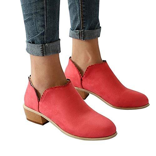 Botines Mujer Tacon Medio Planos Invierno Tacon Ancho Piel Ante Botas Botita Moda Planas 3cm Casual Zapatos Calzado Caqui Negros Rosa Azul 35-43 RD39