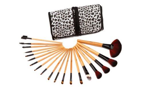Glow 19 pc en bois de qualité professionnelle poignée maquillage pinceau set léopard affaire