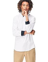 Amazon-Marke: find. Herren Regulär geschnittenes Hemd mit Grandad-Kragen