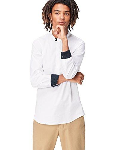 Find camicia con colletto serafino regular fit uomo, bianco (white), large
