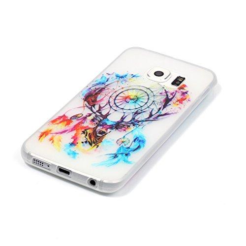 CaseHome Samsung Galaxy S6 Edge Luminous Hülle (Mit Frie Displayschutzfolie) Leuchtende Silikone Rückhülle Für iPhone 6 6s Plus 5.5 Zoll Zoll Silikon Etui Handy Hülle Weiche Transparente Luminous TPU  Bunte Traumfänger
