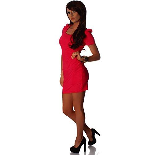 Fashion4Young - Robe - Taille empire - Femme noir noir XS=36 rose bonbon