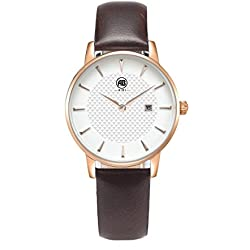 AIBI Damen Braun Leder Armband Edelstahl Datum Uhr Rose Gold AB52601-4