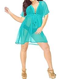 b8b2304e4410 LA LEELA Women's Summer Holiday Solid Plain Drawstring Chiffon Bikini Cover  Up Sun Swimwear Beachwear Embroidered