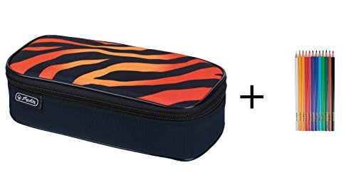 Stiftebox XXL / Faulenzerrolle / Faulenzer-Box / 'Tiger' + 12 Buntstifte