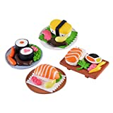 4pcs Dollhouse Miniatures Cucina Decor Vivid Giapponesi Di Cucina Sushi Giocattoli