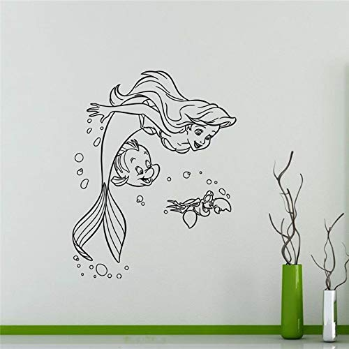 ljradj New Ariel Mermaid Vinyl Sticker Princess Flounder Sebastian Cartoons Wall Home Kids Girl Boy Nursery Art Decor Mural Yellow 87 x 111 cm - Ariel Album