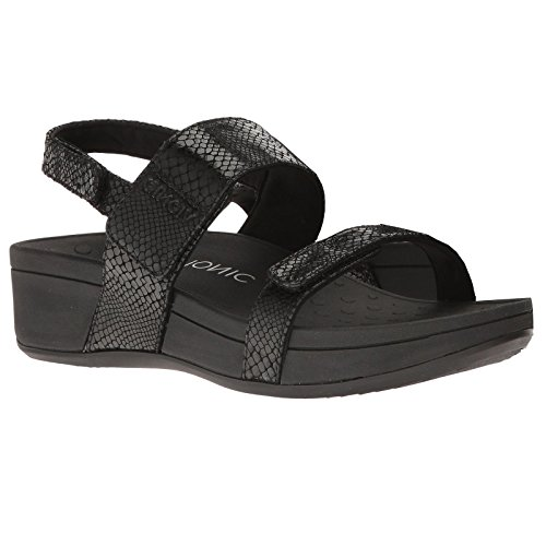 Vionic Womens 382 Bolinas Pacific Leather Sandals Black Snake