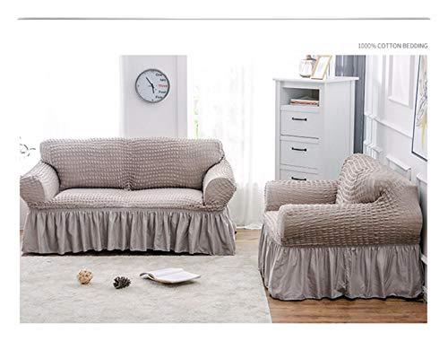VGUYFUYH Grau Schaum Garn Rock Sofa Polyester Full Package Elastizität Rutschfeste Home Universal Sofa Abdeckung Simple Mode Set Robuste Staub- Hund Schutzabdeckung, 3 Sitz