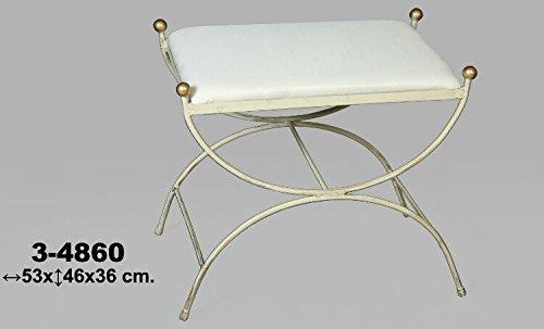 DonRegaloWeb - Divan descalzadora de hierro forjado con asiento tapizado decorado en color blanco decape