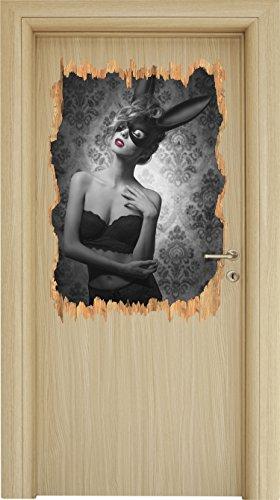 Maskierte attraktive Frau Schwarz/Weiß Holzdurchbruch im 3D-Look , Wand- oder Türaufkleber Format: 92x62cm, Wandsticker, Wandtattoo, (Maskierte Weiß Kostüme)