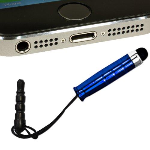 Apple iPhone 6 Plus - Leder Flip Case Tasche + Mini Stylus Pen + Schutzfolie und Poliertuch ( Hot Pink ) Blau