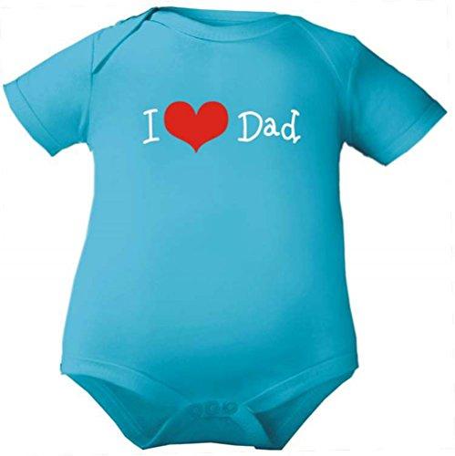 Petite Frimousse Body de bébé fille manches courtes garçon Motif Body pour bébé I love dad - Bleu - 3 ans