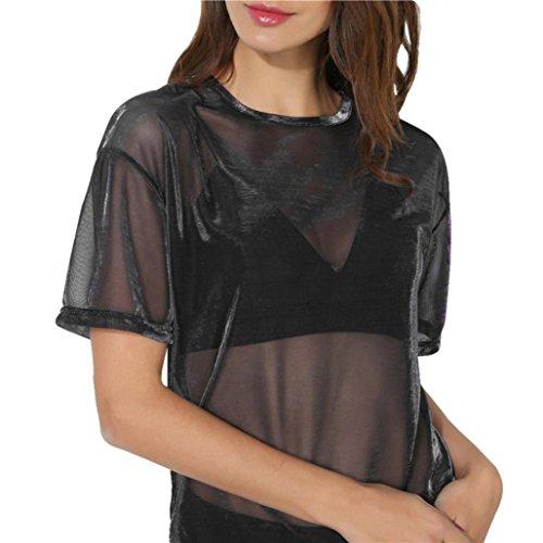 OVERDOSE Frauen Hohl Transparent Rundhals Kurzarm T-Shirt Tops Bluse Damen Sommer Pulli Oberteile (A-Black - Versace Baby Jeans