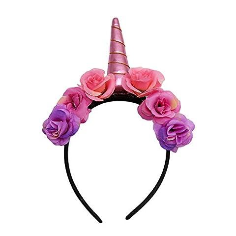 HENGSONG Niedlich Party Kostüm Einhorn Horn Haarreif Stirnband Haarband Haar Accessoire Zubehör Geschenke (Rosa Einhorn-kostüm)