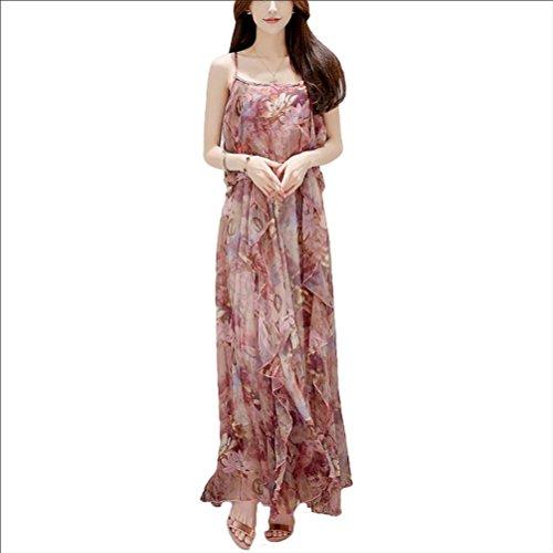 Robe d'été jupe de plage en mousseline de soie robe de harnais florale - bleu Violet