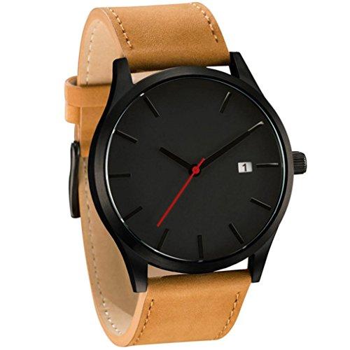Sonnena Unisex Armbanduhren, Mode Casual Minimalistisch Damenuhr Herrenuhr Casual Lederband Armbanduhren Klassik Edelstahl Analoge Quarz Handgelenk Uhr (C)