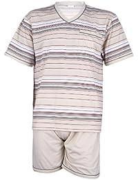 FORMEN Herren Schlafanzug Pyjama mit Shorty - Beige