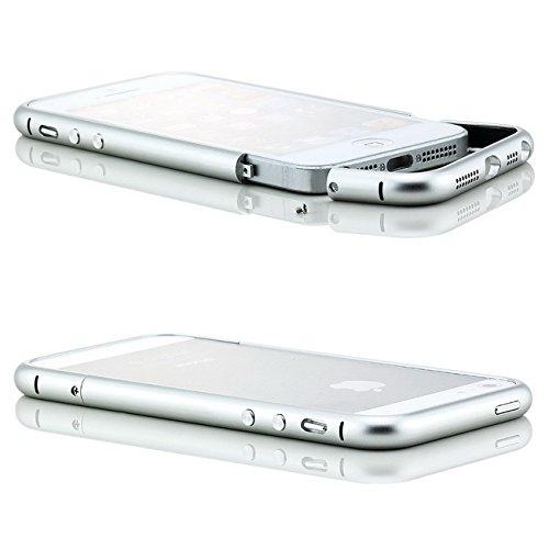 Saxonia Custodia di alluminio + 2x Vetro Temperato Apple iPhone SE 5 5S Case Cover Slim Bumper telaio del Respingente Antiurto Argento Argento