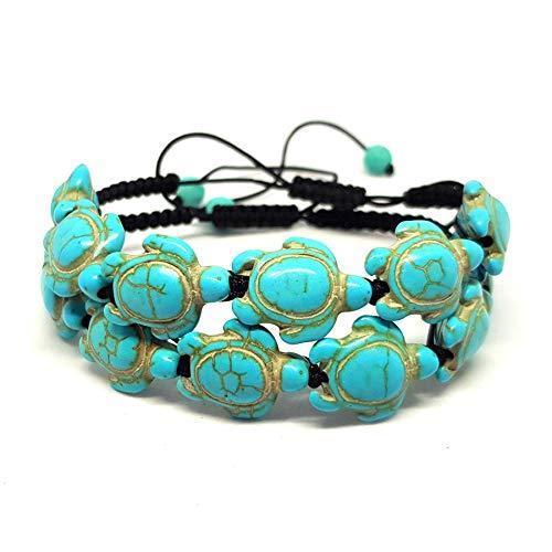 KARDINAL.WEIST Naturstein Perlenarmband Geflochten aus Howlith Türkis mit Schildkröten Perlen, Surfer-Armband für Damen und Herren, Yoga Armband (2 - Doppelpack)