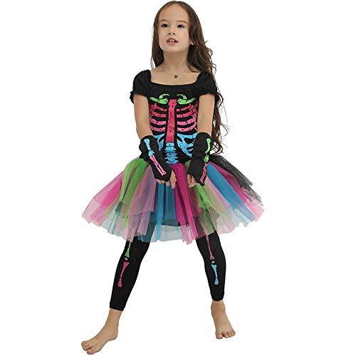 Lkouq scheletro di colore spaventoso costume di halloween per bambini strega principessa ragazza bambini costumi per bambini kid fancy dress party s