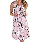 ♥ Loveso♥ Damen Umstandskleid Spitzenkleid Schwangerschafts Kleid Polka Dots/Drucken/Einfarbig Still-Nachthemd Ärmellos Crop Casual Kleid