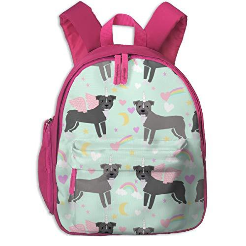Kinderrucksack mädchen,Pitbull Unicorn Magic Rainbows Stoff Hunderasse Light Mint_4914 - tierfreundlich, Für Kinderschulen Oxfordstoff (pink) -