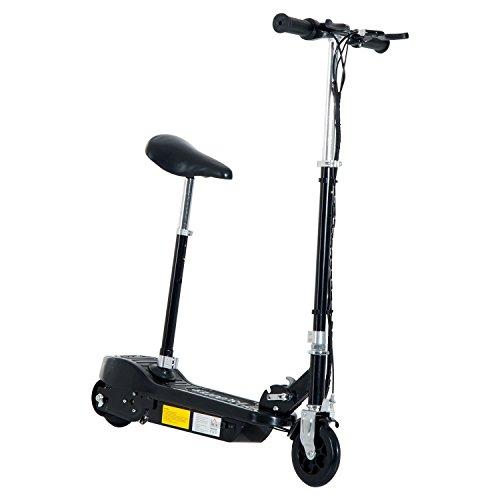 Homcom Elektroroller Kinderroller Roller mit Sitz Tretroller klappbar 120W (Schwarz)