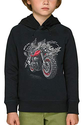 PIXEL EVOLUTION Felpa con Capuccio Moto Racer Bambino - Taglia 10 Anni - Nero
