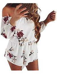b7c170b330d Qiusa Jumpsuit à Fleurs imprimé sans Dos Sexy pour Femmes avec bandoulière  (coloré   Blanc