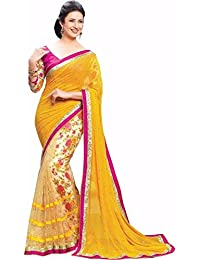 Dhandai Fashion Georgette Saree With Blouse Piece (Yellow Purple_Blue_Free Size)