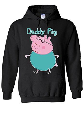 Daddy Hoodie (Daddy Pig Peppa Fathers Day Novelty Black Men Women Unisex Hooded Sweatshirt Hoodie-XL)