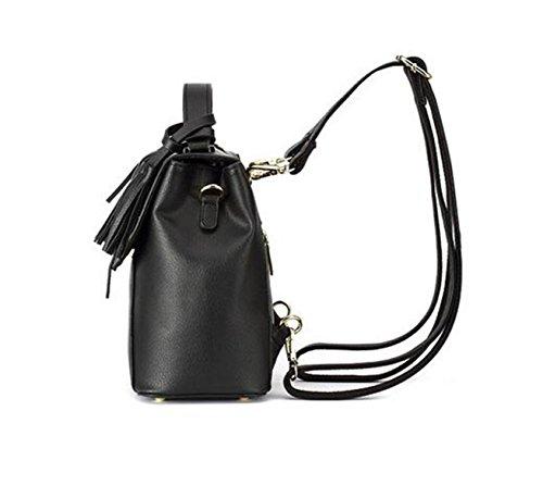 QPALZM 2017 Damen Leder Rucksack Geldbörse Schultern Tasche Reise Quaste Tasche Daypack Black
