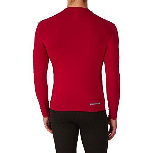 Canterbury Cold–Maglietta sportiva aderente pantaloni per uomo, collo alto, maniche lunghe) Rosso