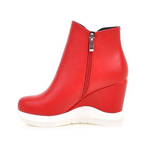 AgooLar Damen Ziehen auf Niedriger Absatz PU Gemischte Farbe Niedrig-Spitze Stiefel, Rot, 35
