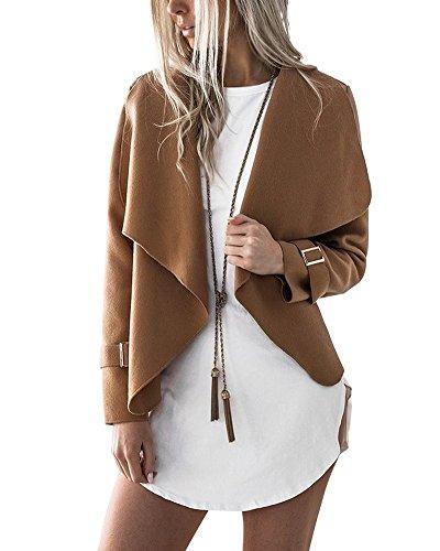 Minetom Donna Invernale Elegante Manica Lunga Aperto Davanti Colletto Cappotto Casual Giacca Blazer Corto Cardigan Kimono Giubbino Coat Caffè